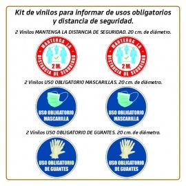 Kit de vinilos para informar de usos obligatorios y distancia de seguridad.