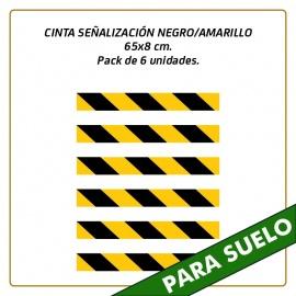 Vinilos para suelo - CINTA SEÑALIZACIÓN NEGRO/AMARILLO - 65x8 cm. - Pack de 6 unidades.