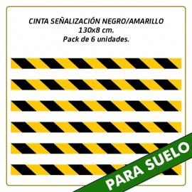 Vinilos para suelo - CINTA SEÑALIZACIÓN NEGRO/AMARILLO - 130x8 cm. - Pack de 6 unidades.