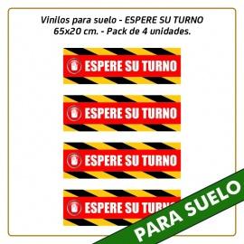 Vinilos para suelo - ESPERE SU TURNO - 65x20 cm. - Pack de 4 unidades.