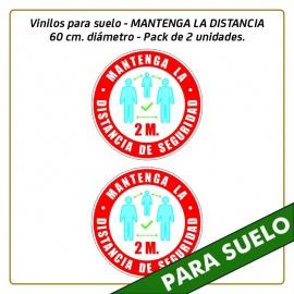 Vinilos para suelo - MANTENGA LA DISTANCIA - 60 cm. diámetro - Pack de 2 unidades.