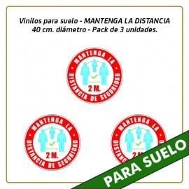 Vinilos para suelo - MANTENGA LA DISTANCIA - 40 cm. diámetro - Pack de 3 unidades.