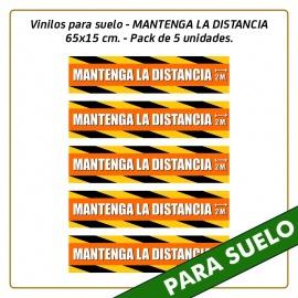 Vinilos para suelo - MANTENGA LA DISTANCIA - 65x15 cm. - Pack de 5 unidades.