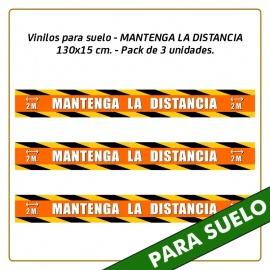 Vinilos para suelo - MANTENGA LA DISTANCIA - 130x15 cm. - Pack de 3 unidades.