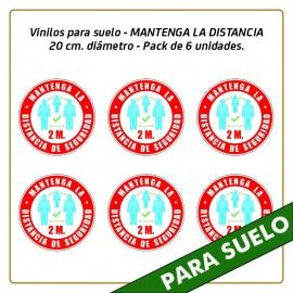 Vinilos para suelo - MANTENGA LA DISTANCIA - 20 cm. diámetro - Pack de 6 unidades.